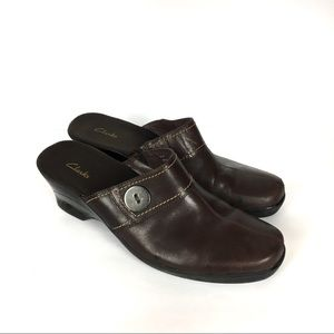 Clarks 79667 US 10 M Brown Leather Button Mules